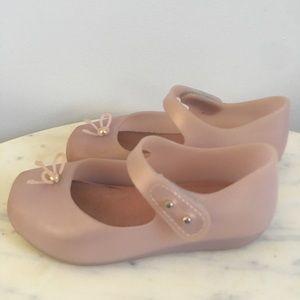 Mini Melissa Square Toe Ballet Shoes Light Pink 8
